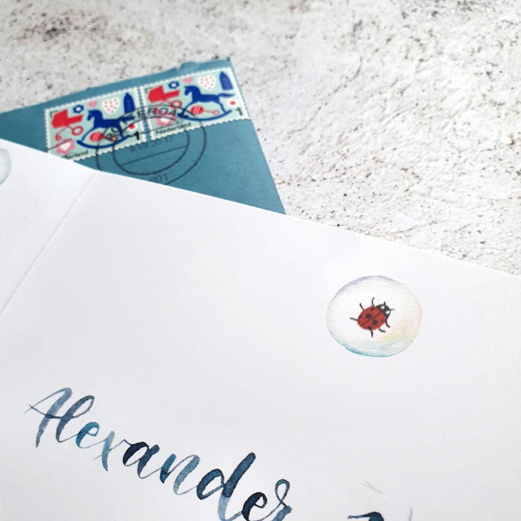 Letterbraut.Geburtskarte.Aquarell