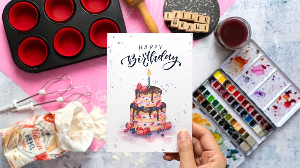 handlettering birthday card