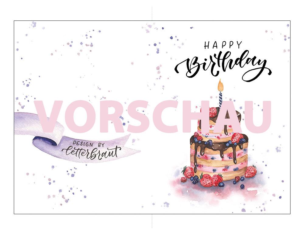 handlettering birthday card download